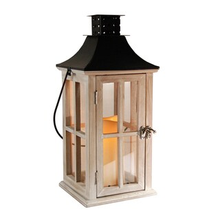 Wooden Lantern with LED Candle - White Wash with Black Roof