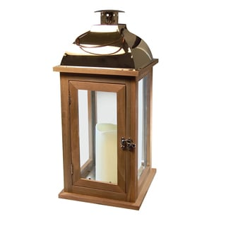 Wooden Lantern with LED Candle - Brown with Copper Roof