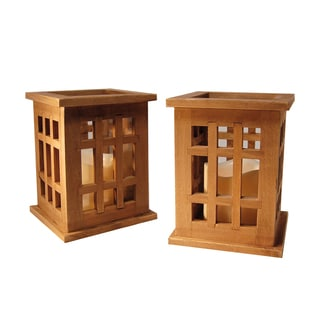 Wooden Lanterns with LED Candles - Natural Brown- Set of 2