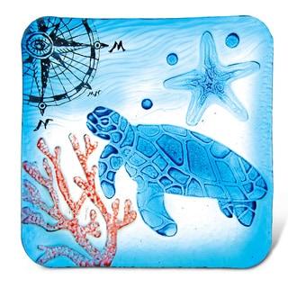 Blue Glass 8-inch Square Sea Turtle Decor Plate
