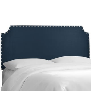 Skyline Furniture Navy Microsuede Notched Nail Button Headboard