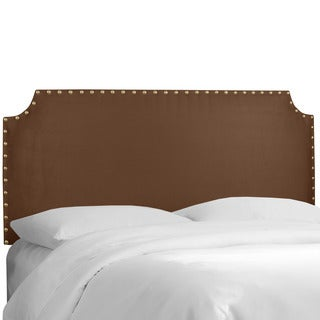 Skyline Furniture Chocolate Micro-suede Notched Nail-button Headboard