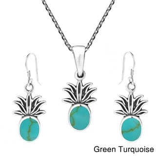 Pineapple Stone Inlay .925 Silver Necklace Earrings Set (Thailand)