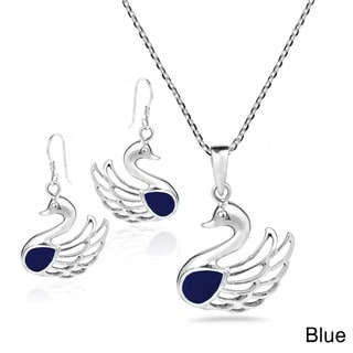 Handmade Swan Natural Stone.925 Silver Necklace Earrings Set (Thailand)