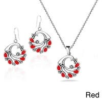 Handmade Peacock Natural Stones .925 Silver Necklace Earrings Set (Thailand)