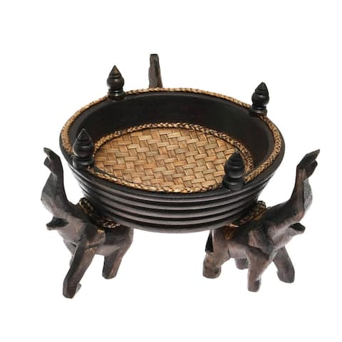 Handmade Victorious Elephant Trio Artisan Carved Wood Round Tray (Thailand)