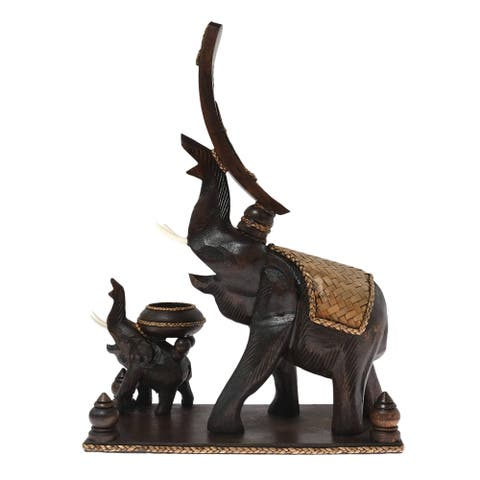 Handmade Elephants Carved Wood Wine Bottle and Candle Holder Statue (Thailand)