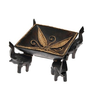 Victorious Elephant Quartet Artisan Carved Wood Square Tray (Thailand)