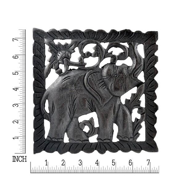 Handmade Opposing Elephant Panel Set Hand Carved Teak Wood Relief Panel Wall Art (Thailand)
