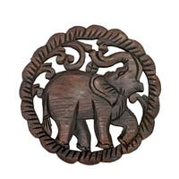 Elephant Handmade Teak Wood Relief Panel Wall Art (Thailand)
