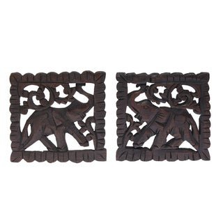 Elephant Pair Hand Carved Teak Wood Relief Panel Wall Art (Thailand)