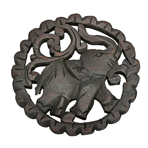 Handmade Charging Elephant Round Trivet Hot Plate Hand Carved Teak Wood (Thailand)