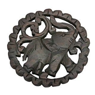 Elephant Round Trivet Hot Plate Hand Carved Teak Wood (Thailand)