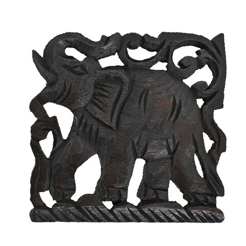 Handmade Elephant Trivet Square Hot Plate Handmade Teak Wood (Thailand)
