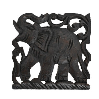 Elephant Trivet Square Hot Plate Hand Carved Teak Wood (Thailand)