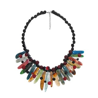 Handmade Fiesta Colorful Agate Stone Sticks Statement Necklace (Thailand)