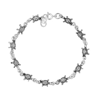 Turtle Walking Leisurely Link Sterling Silver Bracelet (Thailand)