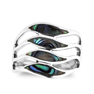 Handmade Amazing Waves Myriad of Gemstone Sterling Silver Ring (Thailand)
