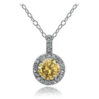Glitzy Rocks Sterling Silver Gemstone Birthstone Halo Necklace