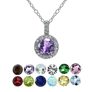 Glitzy Rocks Sterling Silver Gemstone Birthstone Halo Necklace