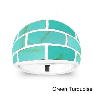 Modern Brick Blocks Gemstone Sterling Silver Ring (Thailand)