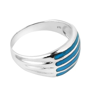 Horizontal Bar Pattern Gemstone .925 Silver Ring (Thailand)