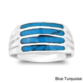 Horizontal Bar Pattern Gemstone .925 Silver Ring (Thailand)