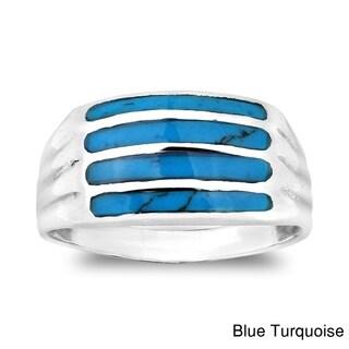 Handmade Horizontal Bar Pattern Gemstone .925 Sterling Silver Ring (Thailand)
