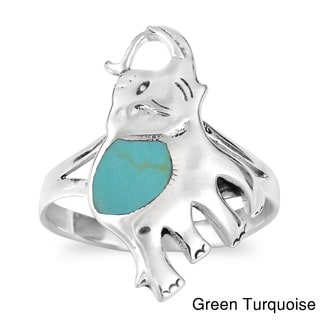 Joyful Elephant Gemstone Sterling Silver Ring (Thailand)