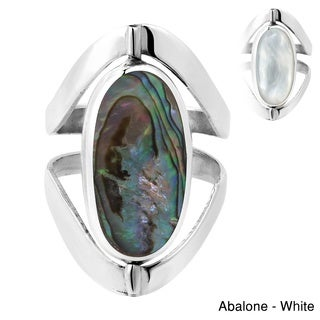 Handmade Two in One Oval Gemstones Inlay Sterling Silver Ring (Thailand)