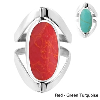 Two in One Oval Gemstones Inlay Sterling Silver Ring (Thailand)