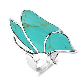Flying Monarch Butterfly Gemstone Inlay .925 Silver Ring (Thailand)