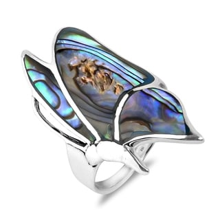 Handmade Flying Monarch Butterfly Gemstone Inlay .925 Sterling Silver Ring (Thailand)