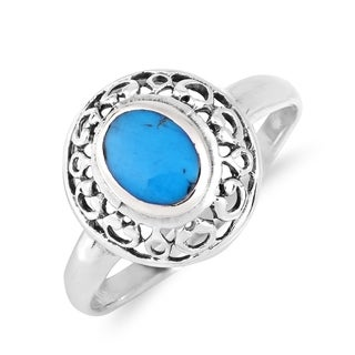 Exquisite Swirl Frame Oval Turquoise Sterling Silver Ring (Thailand)