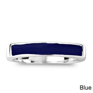 Handmade Rectangular Bar Gemtone Inlay Sterling Silver Ring (Thailand)