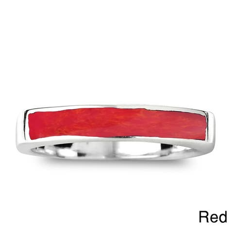 9f3daef0d75a0a SALE. 1.2K. Handmade Rectangular Bar Gemtone Inlay Sterling Silver Ring  (Thailand)