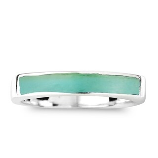Handmade Rectangular Bar Gemtone Inlay Sterling Silver Ring (Thailand)