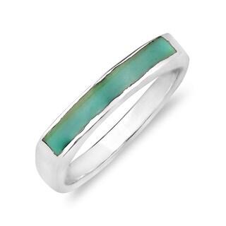 Rectangular Bar Gemtone Inlay Sterling Silver Ring (Thailand)