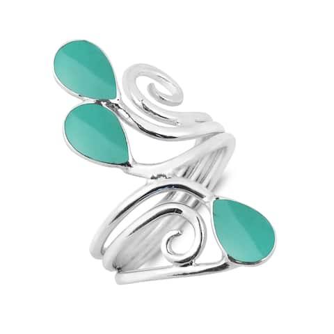 Handmade Floral Vine Ornate Teardrop Gemstone Sterling Silver Ring (Thailand)