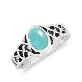 Classic Celtic Knot Oval Gemstone Sterling Silver Ring (Thailand)