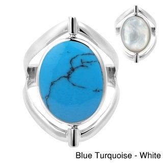 Handmade Two in One Flip Natural Stone Oval Sterling Silver Ring (Thailand)