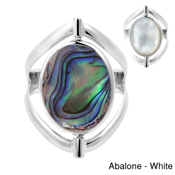 a97c58a4553 Handmade Two in One Flip Natural Stone Oval Sterling Silver Ring (Thailand)