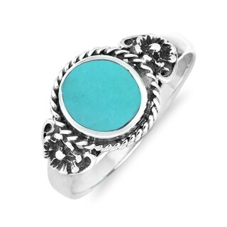 Handmade Daisy Floral Embrace Gemstone Sterling Silver Ring (Thailand) (More options available)