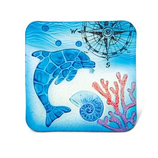 Blue Glass 8-inch Square Dolphin Decor Plate