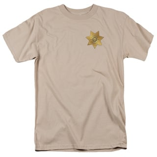 Eureka/Badge Short Sleeve Adult T-Shirt 18/1 in Sand