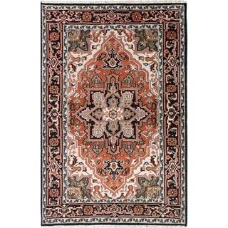 ecarpetgallery Royal Heriz Black, Brown Wool Rug (5'11 x 9')