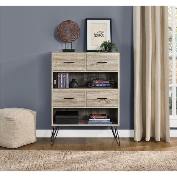 Ameriwood Home Landon Sonoma Oak/ Gunmetal Grey Bookcase With Bins