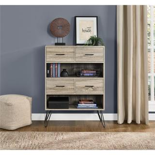 Ameriwood Home Landon Sonoma Oak/Gunmetal Grey Laminated Particleboard/Metal Bookcase with Bins
