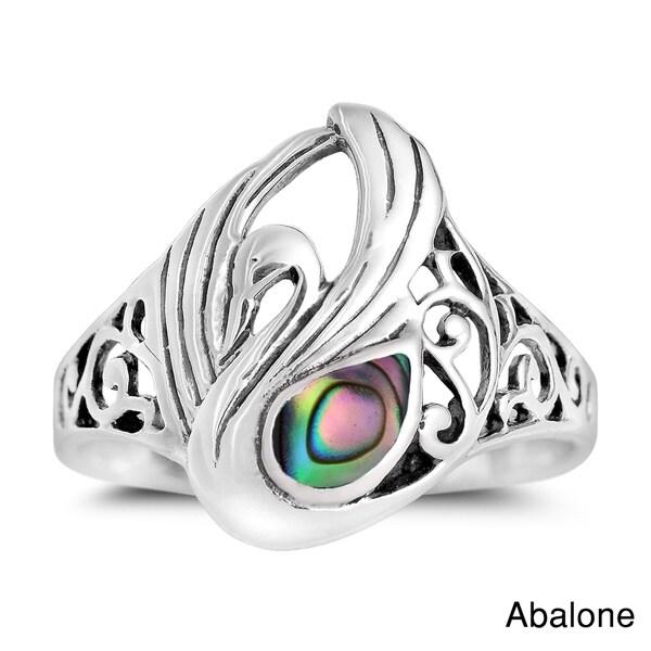 Handmade Majestic Swirl Swan Gemstone Wings Sterling Silver Ring (Thailand)