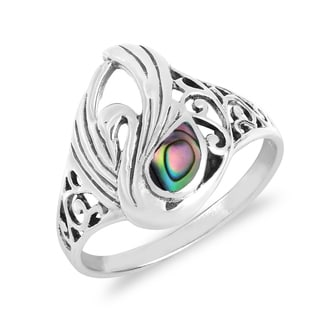 Handmade Majestic Swirl Swan Gemstone Wings Sterling Silver Ring (Thailand)